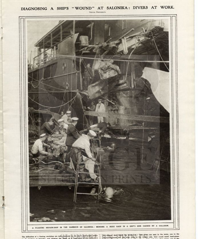 1917 Divers Repairing a Ship SALONIKA HARBOUR WW1 (Thessaloniki)